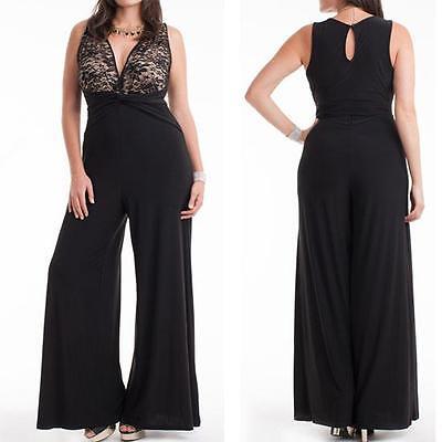 J21 - 1X 2X 3X Plus Size V Neck Lace Top Palazzo Wide Pants Jumpsuit Black