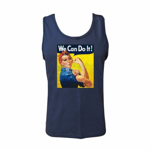 We Can Do It Tank Navy Basic Cotton Rosie The Riveter Vintage Distressed Tee
