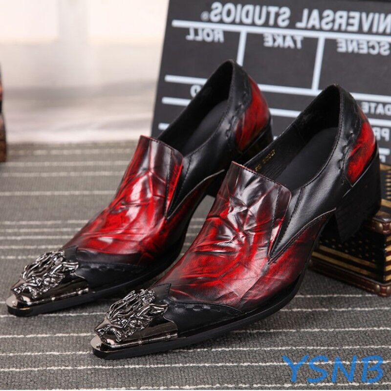 Boy Men Metal Pointy Toe Punk Leather Silp On Formal Dress Ankle Boot Rock shoes