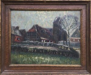 Oil-PAINTING-POST-IMPRESSIONIST-northern-German-church-village-Signed-51-x-61-cm