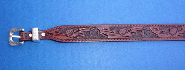 """Western Cowboy/Cowgirl Tooled Top  Grain Brown/Red Leather HAT BAND 3/4"""" Wide"""