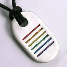 LGBT Rainbow Gay-Pride DOG-TAG Lesbian Pewter Pendant w Black Slip knot necklace