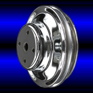 BBC Chevy 2 Groove Chrome Long Water Pump Pulley LWP 396 427 454 Big Block