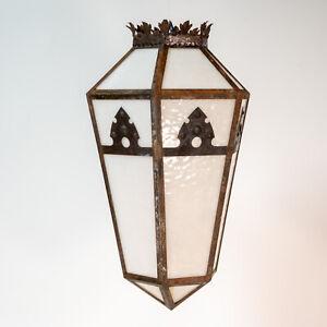 Antique Newport RI suspension art deco verre laiteux Lampe de plafond luminaire FER