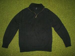 Men-039-s-M-J-CREW-Black-Half-Zip-Cotton-Knit-Sweater