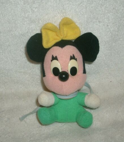 "4"" VINTAGE BABY MINNIE MOUSE DISNEY STUFFED ANIMAL PLUSH TOY DOLL GREEN YELLOW"