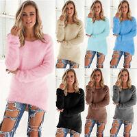 Womens Long Sleeve Velvet Loose Winter Warm Sweater Casual Jumper Tops UK 6-16