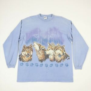 Vintage-90s-Wolf-Front-amp-Back-Print-Long-Sleeve-T-Shirt-Fade-Distress-Grunge-XL