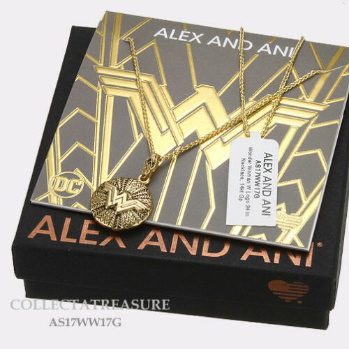 "Authentic Alex and Ani Wonder Woman W logo 24/"" 14kt GP NECKLACE"