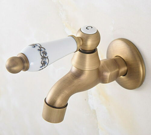 Antique Brass Wall Mount Single Cold Water Sink Faucet Mop Pool Tap  lav318