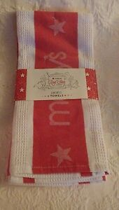 Details About Macy S Red Star Kitchen Set Of 2 Towels Towel New Nwt