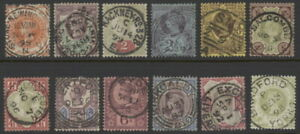 Great-Britain-111-to-122-used-pmk-cancel-complete-set-w-crown-wmk-Victoria