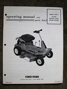 Details about Simplicity YardMan 25 In  Riding Tractor Instruction Manual  Parts List Operators