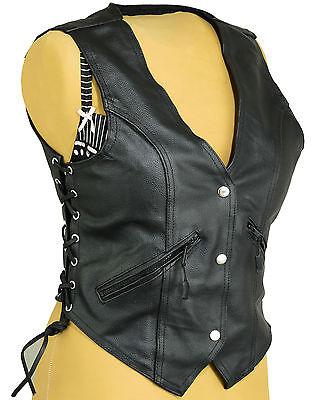 da uomo Gilet da motociclista in pelle di vacchetta di prima qualit/à nero classico con lacci laterali