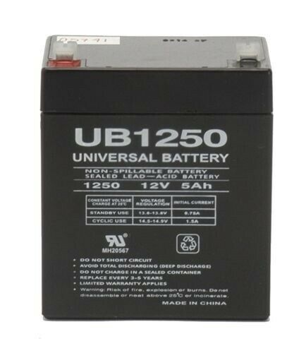 EnerSys NP4-12FR Battery Replacement, also replaces Yuasa and Genesis - 12V 5AH