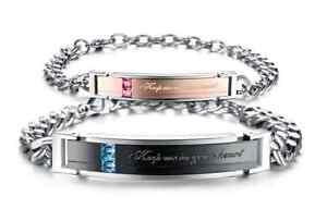 2-Bracciale-Coppia-bracelet-Uomo-Donna-ring-Fidanzati-anello-Acciaio-INCISIONI