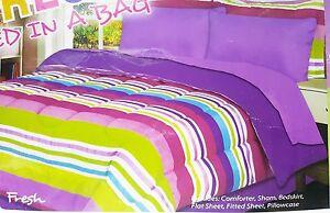 Girls-Purple-Striped-Full-Comforter-Sheet-Set-Reversible-Shams-Bedskirt-8pc-New