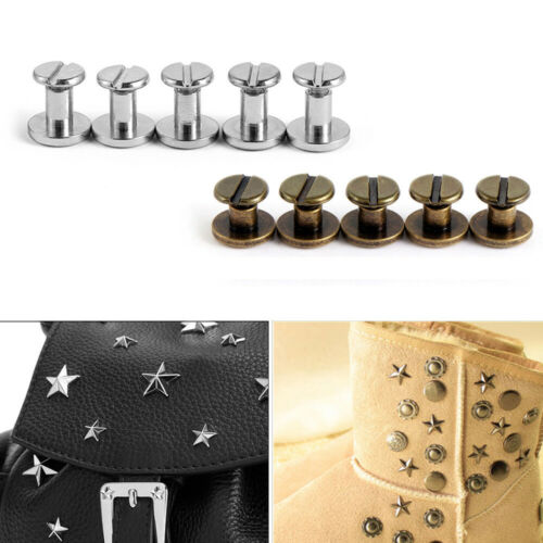 10set Metal Double Flat Head Leather Screw Nail Rivet For Belt Luggage Useful
