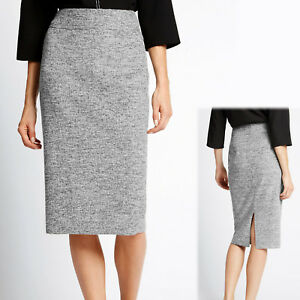 171bc8f2ea M&S Marl Knit WOOL BLEND Midi PENCIL SKIRT ~ Size 6 or 16 ~ GREY   eBay