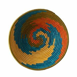 African Basket Sunrise Swirl Fruit or Display Woven Art Authentic Handwoven