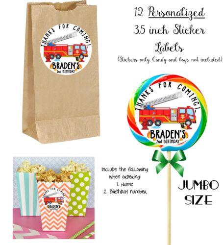 12 Firetruck Custom JUMBO STICKERS for Lollipops goody bags birthday party
