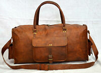 Men genuine Leather large vintage duffle travel gym weekend overnight holdall