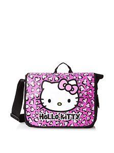 da209e68c1 Image is loading Sanrio-Hello-Kitty-Pink-Leopard-Messenger-School-Book-