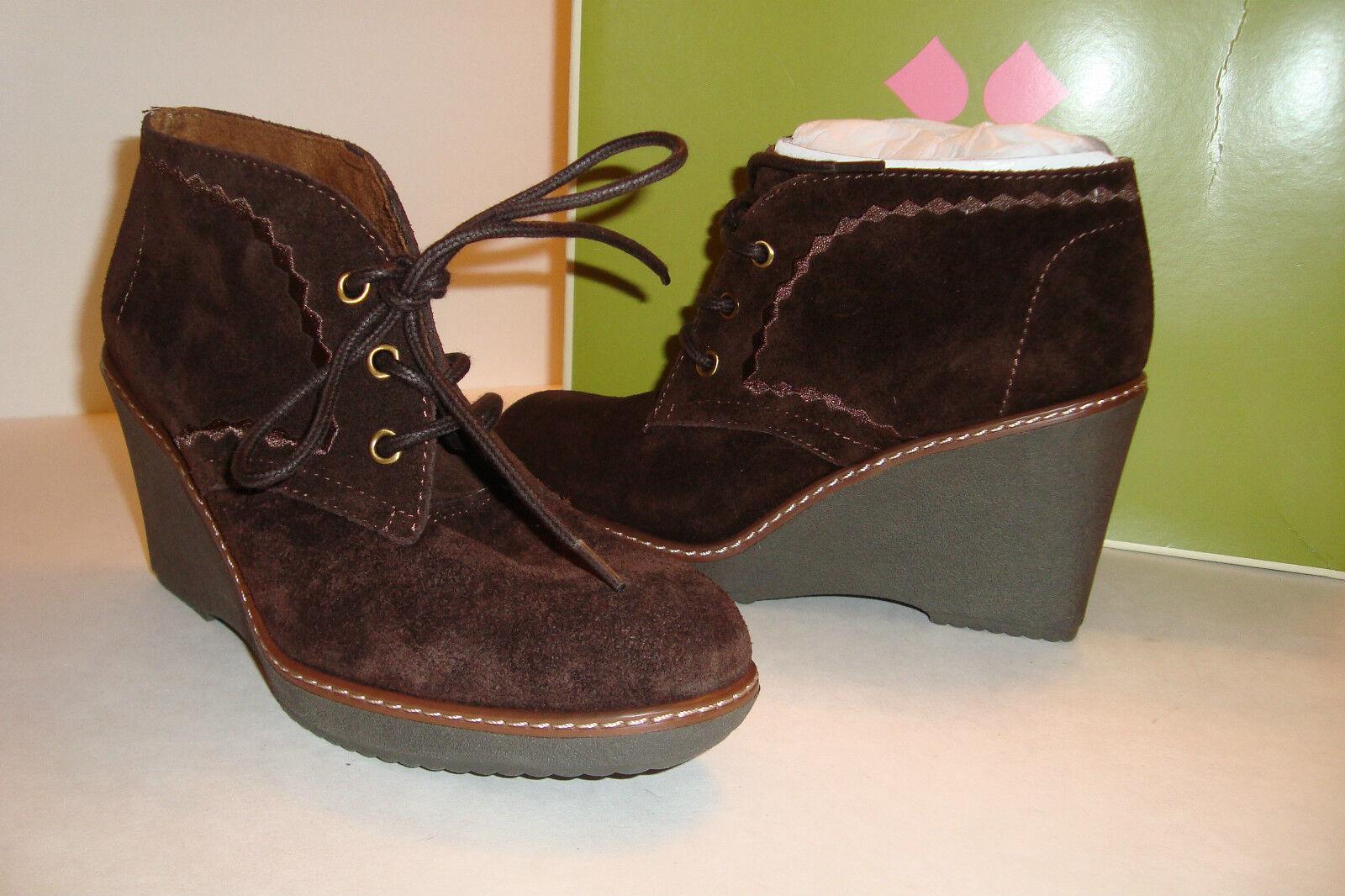 Naturalizer Damenschuhe NWB Kaitlyn Oxford Braun Ankle Wedge Stiefel Schuhes 5.5 MED NEU