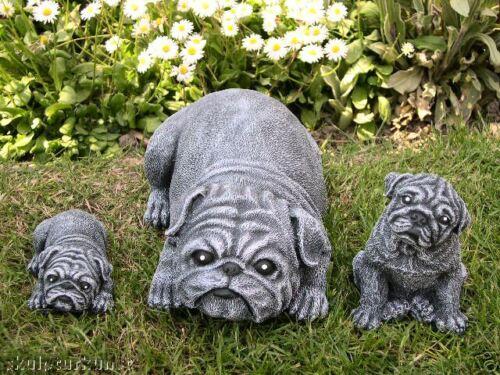 Steinfigur Mops Hund Dekofigur Gartenfigur Gartendeko Tierfigur Skulptur Statue
