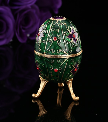 Quality Blue Floral Crystal Faberge Egg Russian European Trinket Jewellery Box