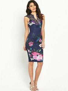 Stunning-Fitted-Womens-Fashion-Blue-Floral-Print-Dress-Cocktail-Midi-Bodycon