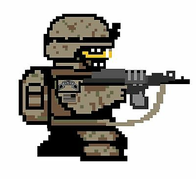 THE 8BIT Army military RANGER reflective retro nintendo video game DECAL tab