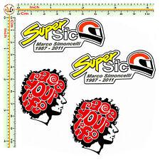 adesivi marco simoncelli auto moto casco 58 race your life sticker 4 pezzi