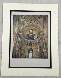 1929-Antique-Print-Italian-Mosaic-Cefalu-Cathedral-Sicily-Italy-Jesus-Christ