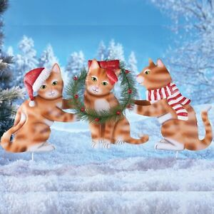 Set-of-3-Christmas-Santa-Hat-Kittens-with-Wreath-Outdoor-Garden-Stakes