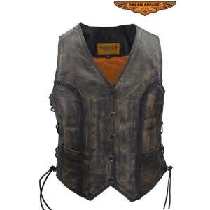 Womens Longer Cut Distressed Brown Cowhide Leather Motorcycle Vest
