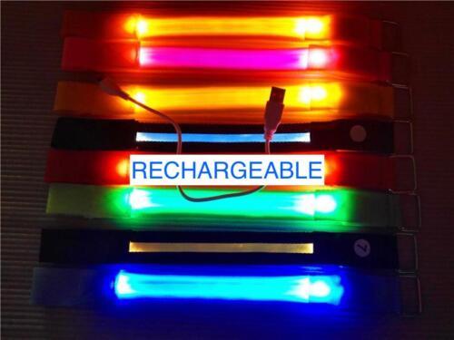 RECHARGEABLE LED ARM BAND ankle Flash Light Safety Running Bike Jog Walk armband