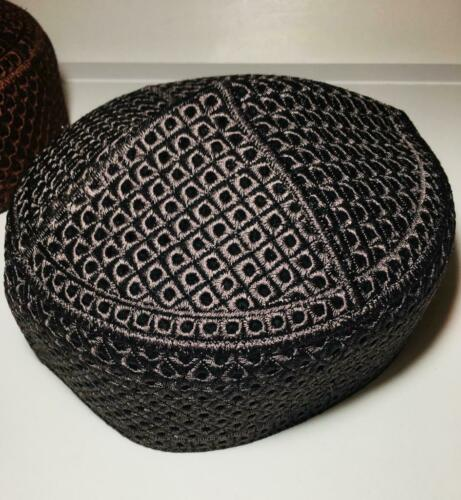High Quality Embroidered Prayer Topi Hat Dark Domed Traditional Skull Kufi Cap