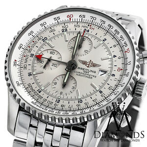 Details About Men S Breitling Navitimer World Gmt White Face Chronograph A24322 46mm Watch