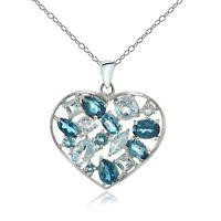 Sterling Silver London Blue Topaz & Blue Topaz Cluster Heart Tonal Necklace