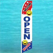 Open Welcome Flutter Flag Tall Curved Feather Swooper Advertising Banner Sign