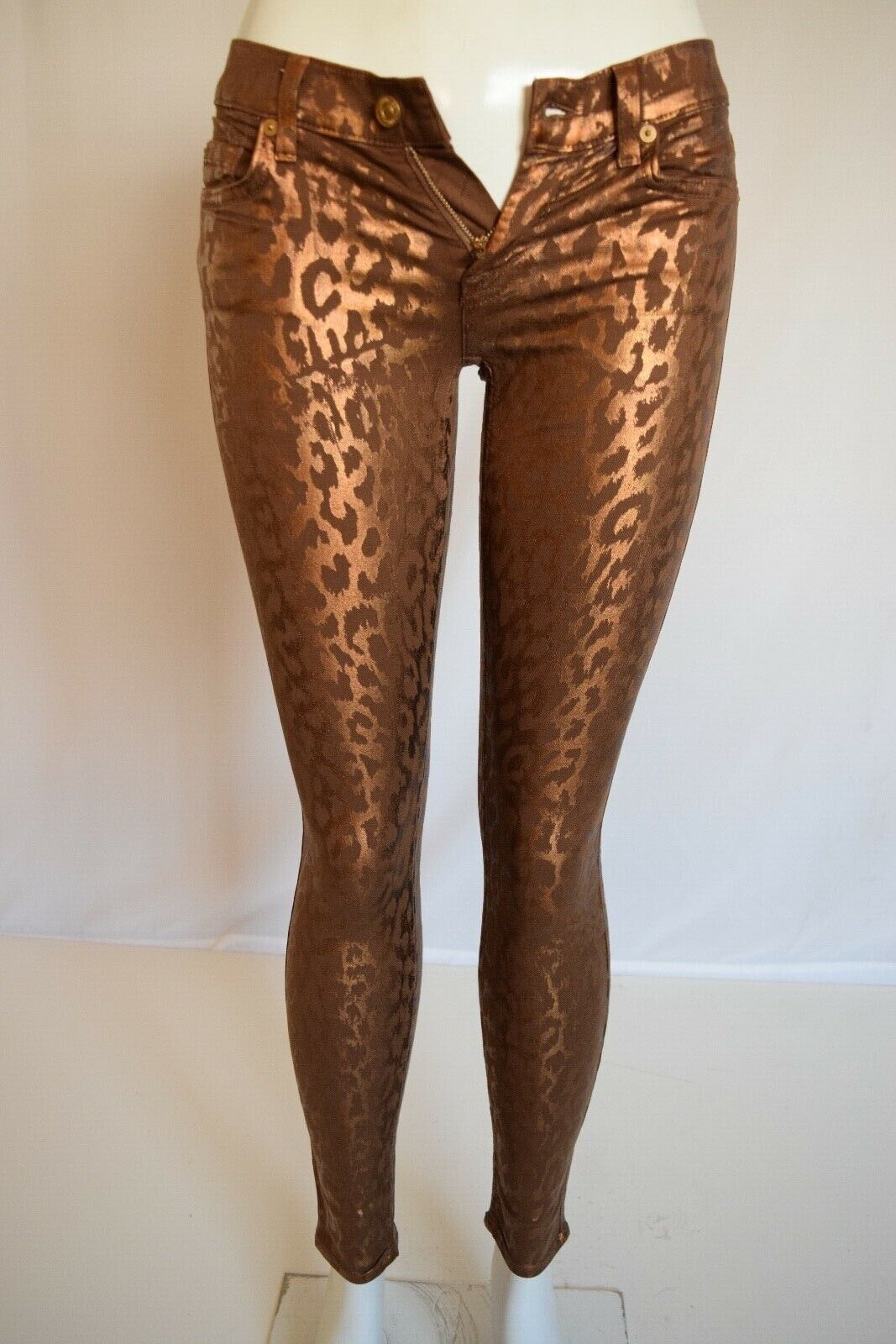 NEW Seven 7 For All Mankind THE SKINNY Metallic Woman Jean SZ 26 Cheetah - Brown