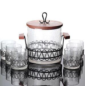 Bowle-Service-Eis-Glas-Teak-Holz-Krakelee-Krakle-Craquele-Craquele-Krakele