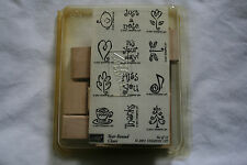 Lot of boxed wooden rubber stamps thank/miss you baby flower coffee scrapbooking