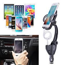 360° In Car 2 Dual USB Charger Cigarette Lighter Mount Holder Cradle For Phone