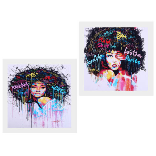 2 Panel Canvas Print Oil Painting Wall Picture Home Decor Afro-hair Girl