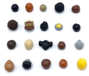 LEGO-20-nouveau-male-figurine-Cheveux-Perruques-BROWN-TAN-ORANGE-blonde-Chauve-Afro-plus