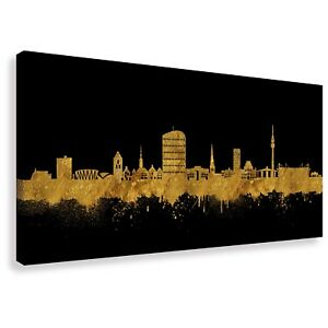 panorama wandbild von dortmund skyline gold kunstdruck leinwand div gr en ebay. Black Bedroom Furniture Sets. Home Design Ideas