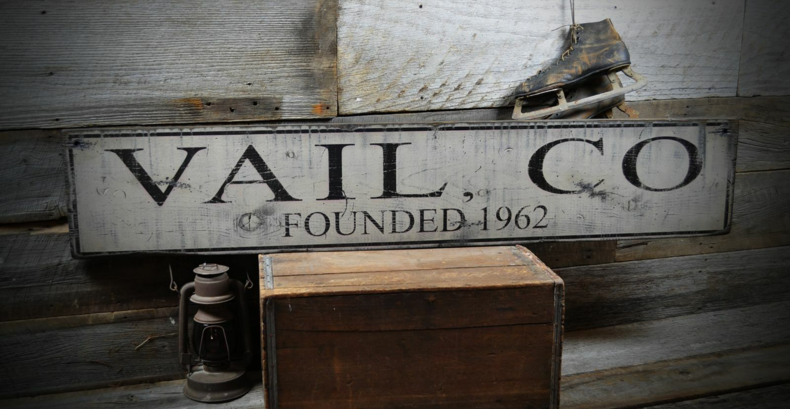 Primitive Vail Farbeado Founded Date Sign - Rustic Hand Made Wooden ENS1000254