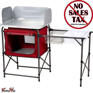 Portable folding camp kitchen sink table outdoor rv - Table cuisine retractable ...